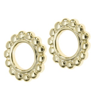 Queenberry 14K Gold-plated Sterling Silver Round Daisy Spacer European Bead Charms (Set of 2)