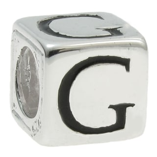 Queenberry Sterling Silver Dice Cube 'G' European Bead Charm