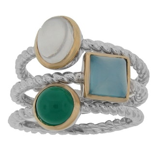 Meredith Leigh 14k Yellow Gold Bezel Accented Sterling Silver Gemstone Stack Ring