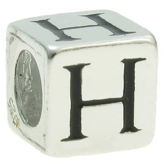 Queenberry Sterling Silver Dice Cube 'H' European Bead Charm