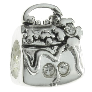 Queenberry Sterling Silver Flower Handbag European Bead Charm