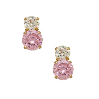 14k Yellow Gold Children's Pink Cubic Zirconia and 3mm Gold Ball Stud Earrings