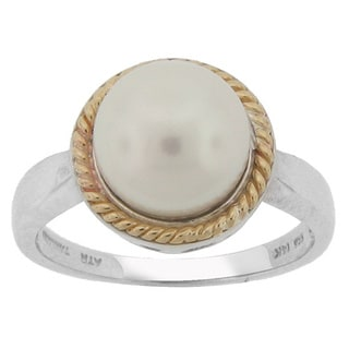 Meredith Leigh 14k Yellow Gold and Sterling Silver Freshwater Pearl Ring