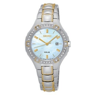 Seiko Women's SUT282 Stainless Steel Two Tone Solar Powered Watch with a Austrian Crystal Embossed Bezel