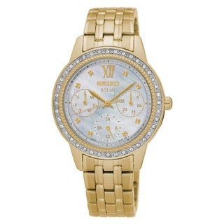 Seiko Women's SNE872 Stainless Steel Gold Tone Solar Powered Watch with a mother of pearl dial