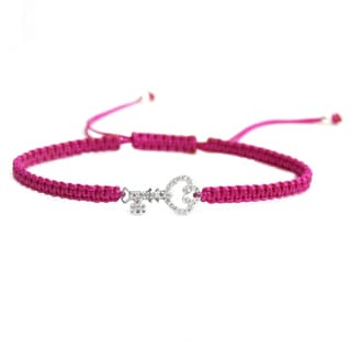 Queenberry Sterling Silver Cubic Zirconia CZ Double Key Love Rose Pink Hand Braided Adjustable Cord Bracelet