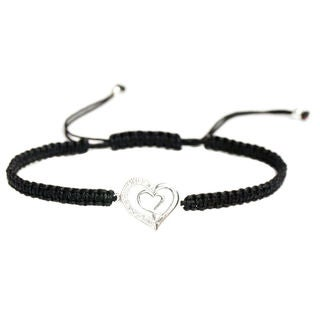 Queenberry Sterling Silver Cubic Zirconia Double Heart Black Hand-braided Adjustable Cord Bracelet