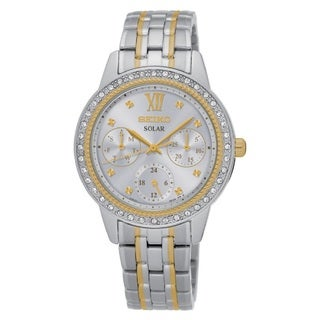 Seiko Women's SNE874 Stainless Steel Two Tone Solar Powered Multi Dial Watch with a Mother of Pearl Dial