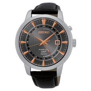 Seiko Men's SUN063 Stainless Steel Kinetic GMT Watch with a Leather Strap and Rose Gold Accents