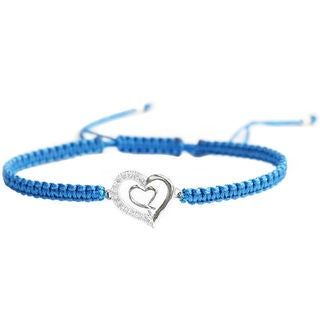 Queenberry Sterling Silver Cubic Zirconia CZ Double Heart Love Blue Hand Braided Adjustable Cord Bracelet