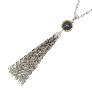 Meredith Leigh 14k Yellow Gold and Sterling Silver Mystic Quartz Tassel Pendant