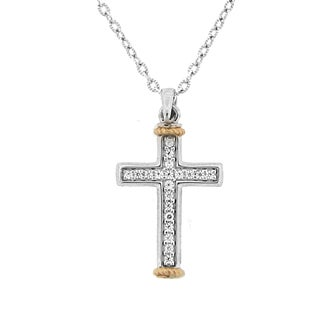Meredith Leigh 14k Yellow Gold and Sterling Silver Zircon Cross Pendant