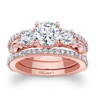 Barkev's Designer 14k Rose Gold 2 1/2ct TDW Diamond 3-piece Bridal Ring Set