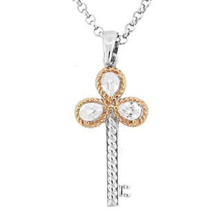 Meredith Leigh 14k Yellow Gold and Sterling Silver Zircon Key Pendant