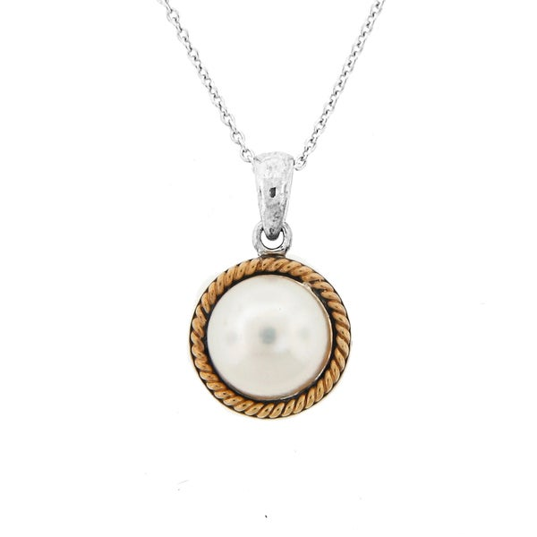 meredith leigh 14k yellow gold silver pearl pendant