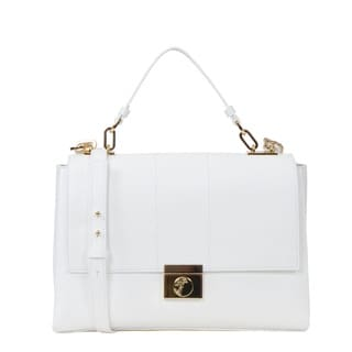 Versace Collection Lock Flap Top Small Leather Shoulder Bag