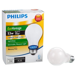 Phillips 458018 A19 53 Watt Soft White EcoVantage Dimmable Bulb 4-count