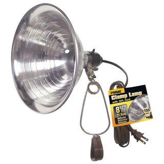 """Prime CL050515B 15' 18/2 SPT-2 100W 8.5"""" Blk Clamp Lamp W/Blk Handle Grip"""
