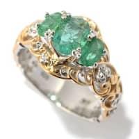 Michael Valitutti Palladium Silver Emerald and White Sapphire Ring