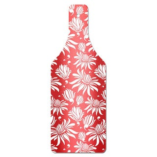 Red Magnolia Bottle Shape Glass Cutting Board