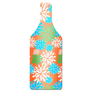 Orange Floral Bottle Shape Glass Cutting Board