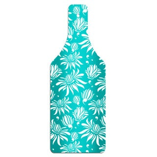 Blue Magnolia Pattern Bottle Shape Glass Cutting Board