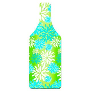 Blue Floral Pattern Bottle Shape Glass Cutting Board