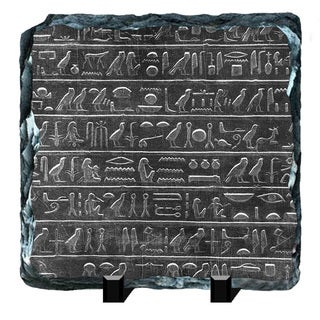 Symbols on the Egyptian Hieroglyphs Printed on One of a Kind Slate Wall Decor