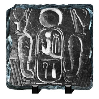 Couche Egyptian Hieroglyphs Printed on One of a Kind Slate Wall Decor
