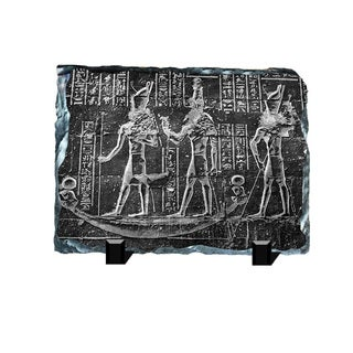 Gods on the Boat Hieroglyphs Printed on One of a Kind Slate Wall Decor