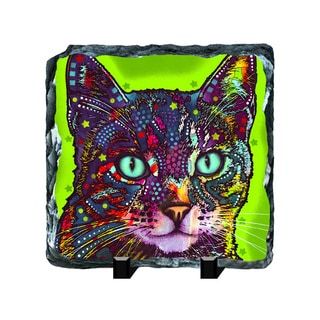 Cat Green Colorful Animals Art Printed on Slate Wall Decor