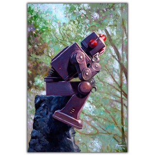 Thinker Vintage Robot 18x12 Printed on Metal Wall Decor