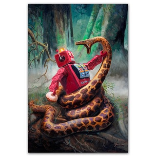 Snake Fight Vintage Robot 18x12 Printed on Metal Wall Decor