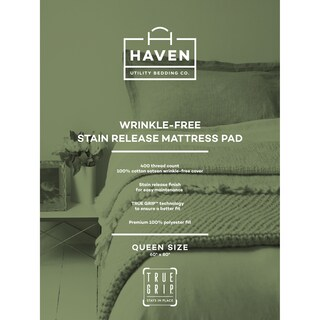 Mattress Protector White 400 Thread Count Stain Release by Haven (4 options available)