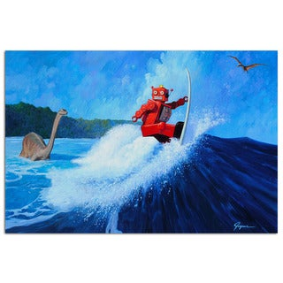 Dino Surf Vintage Robot 18x12 Printed on Metal Wall Decor