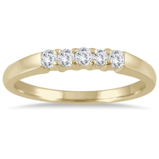 Marquee Jewels 10k Yellow Gold 1/4ct TDW Prong Set 5-stone Diamond Band