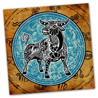 Taurus Grunge Zodiac Astrology Ready to Hang Printed on Metal Wall Decor