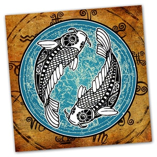 Pisces Grunge Zodiac Astrology Ready to Hang Printed on Metal Wall Decor