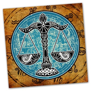 Libra Grunge Zodiac Astrology Ready to Hang Printed on Metal Wall Decor
