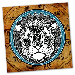Leo Grunge Zodiac Astrology Ready to Hang Printed on Metal Wall Decor