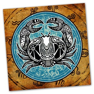 Cancer Grunge Zodiac Astrology Ready to Hang Printed on Metal Wall Decor