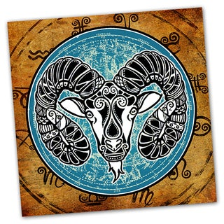 Aries Grunge Zodiac Astrology Ready to Hang Printed on Metal Wall Decor