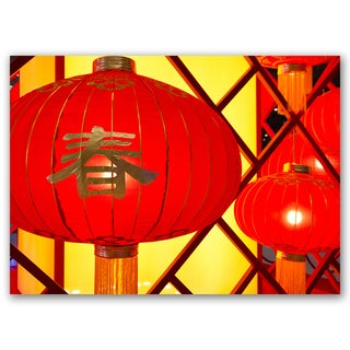 Red Lanterns Good Luck Collection 5x7 Printed on Metal Wall Decor