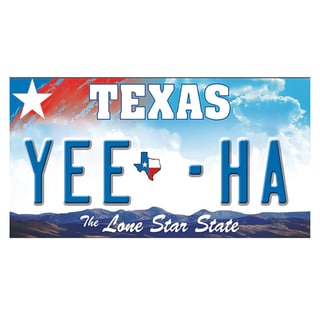 Texas License Plate 12x 6 Printed on Metal Wall Decor