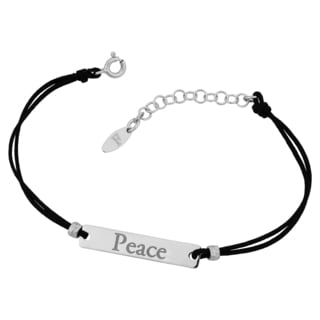 """Argento Italia Rhodium Plated Sterling Silver """"Peace"""" Plate and Cord Adjustable Length Bracelet"""