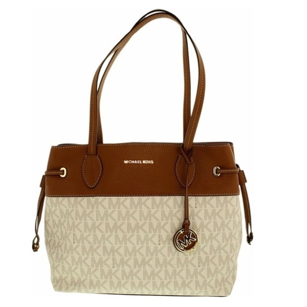 19b6773050f6 Shop Michael Kors Marina Vanilla North South Large Drawstring Tote ...