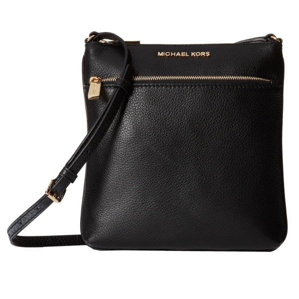 e1c882d53875 Shop Michael Kors Riley Black Gold Small Flat Crossbody Handbag ...