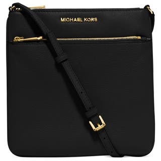 Michael Kors Riley Black And Gold Small Flat Crossbody Handbag