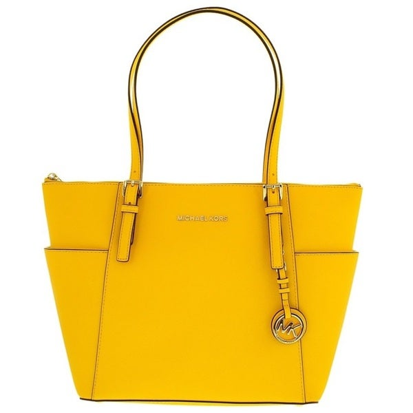 3c772b76ea6f Michael Kors Jet Set Sunflower Saffiano Leather East/West Top Zip Tote Bag