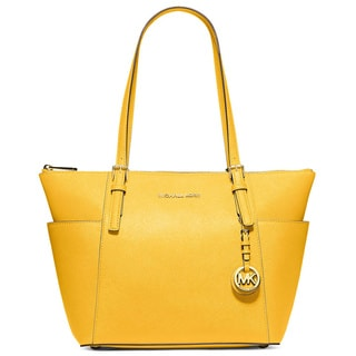 Michael Kors Jet Set Sunflower Saffiano Leather East/West Top Zip Tote Bag